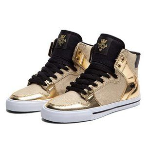 Supra Vaider Skytops Gold Glitter High Top Sneaker